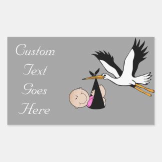Baby Girl & Stork - Newborn Rectangular Sticker