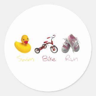 Baby Girl Swim Biek Run Classic Round Sticker
