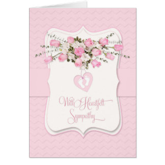 Baby Girl Sympathy in Pink Roses and Tiny Feet Card