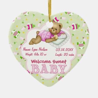 Baby Girl Teddy Bear Christmas Ornament