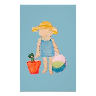 Baby Girl Toddler on Summer Beach Birthday Blue 14 Cm X 21.5 Cm Flyer