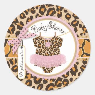 Baby Girl Tutu Cheetah Print Baby Shower Label Round Sticker