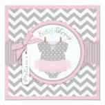Baby Girl Tutu Chevron Print Baby Shower Personalized Invites