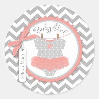Baby Girl Tutu Chevron Print Baby Shower Round Sticker