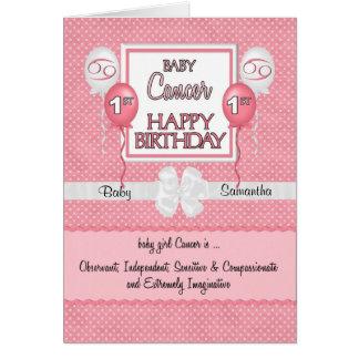 Baby Girl's 1st Birthday Cancer Zodiac Card