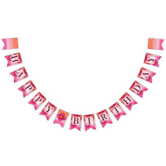 Baby Girl's 1st Birthday Party Bunting Banner