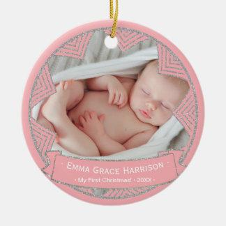 Baby Girls Pink Blush Personalized Christmas Photo Christmas Ornament