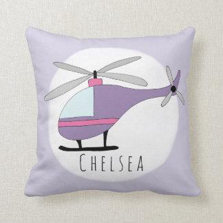 Baby Girl's Purple Helicopter Name Nursery Cushion
