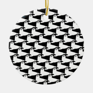 baby harp seal Pattern on black Christmas Ornament