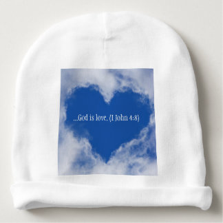 "Baby hat with words ""God is Love"" & Sky Heart Baby Beanie"