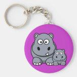 Baby Hippo Family, Cute Wild Safari Basic Round Button Key Ring