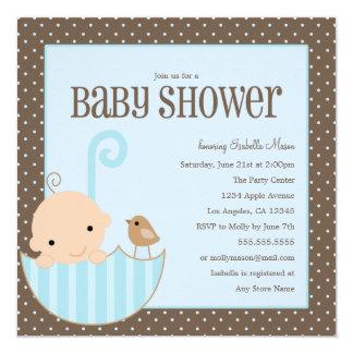 Baby In Umbrella - Blue   Baby Shower Invite