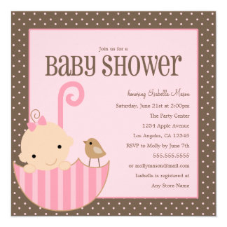 Baby In Umbrella - Pink   Baby Shower Invite