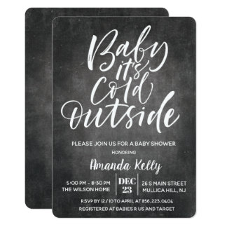 Baby Its Cold Outside Chalk Baby Shower Invitation