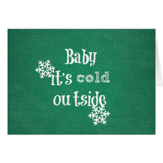 Baby it's Cold Outside: Green Faux Sweater Card