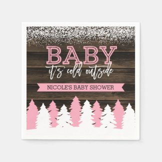 Baby It's Cold Outside Winter Girl Baby Shower Disposable Serviette