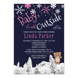 Baby its cold outside woodland winter girl shower card