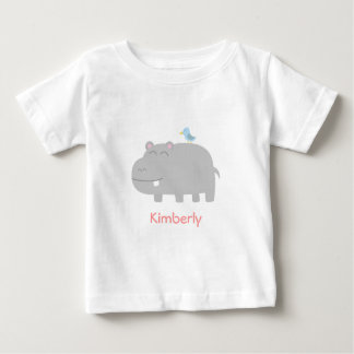 Baby & Kids: Cute Hippo with Blue Bird Cartoon Baby T-Shirt