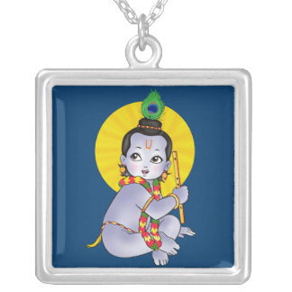 baby Krishna Silver Plated Necklace