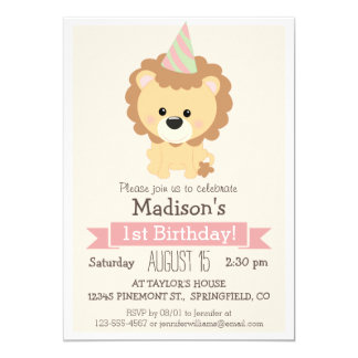 "Baby Lion Girl's Birthday Party Invitation 5"" X 7"" Invitation Card"