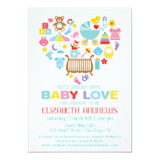 heart baby shower invitations