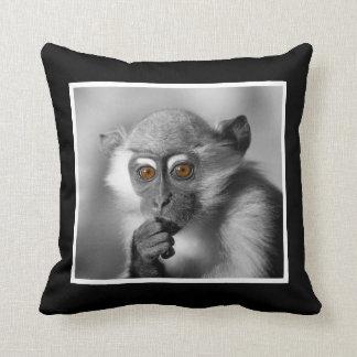 Baby Mangabey Monkey Throw Pillow