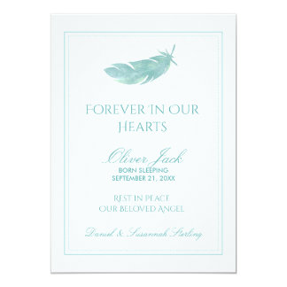 Baby Memorial Forever in Our Hearts   Blue Feather Card