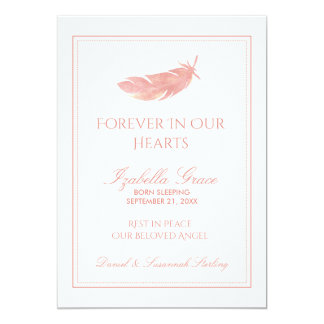 Baby Memorial Forever in Our Hearts   Pink Feather Card
