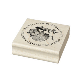 Baby Monkey and Address Rubber Stamp