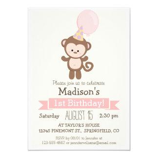 "Baby Monkey Girl's Birthday Party Invitation 5"" X 7"" Invitation Card"