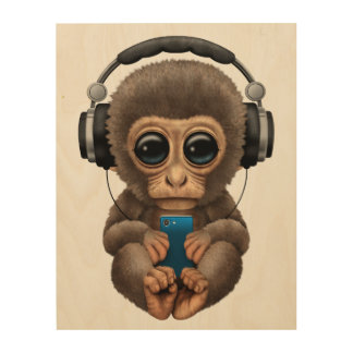 Baby Monkey with Headphones and Cell Phone Wood Wall Art