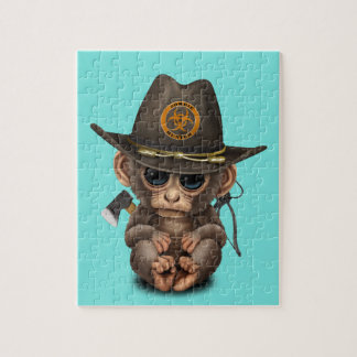 Baby Monkey Zombie Hunter Jigsaw Puzzle