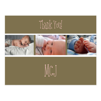 Baby monogram thank you, insert your photos postcard
