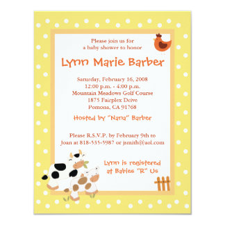 Baby Moo Cow Farm Yard Baby Shower Yellow 11 Cm X 14 Cm Invitation Card