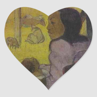 Baby (Nativity of Tahitian Christ) by Paul Gauguin Heart Sticker