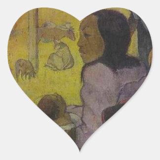 Baby (Nativity of Tahitian Christ) by Paul Gauguin Heart Sticker