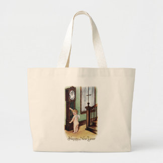 Baby New Year and Grandfather Clock Tote Bags