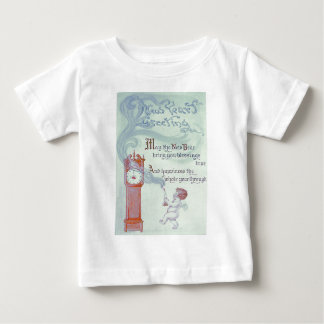 Baby New Year Cherub Angel Grandfather Clock Baby T-Shirt