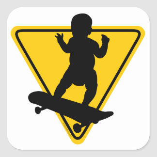 Baby on Skate Board Square Stickers