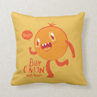 Baby Onion Says Hello! throw pillow
