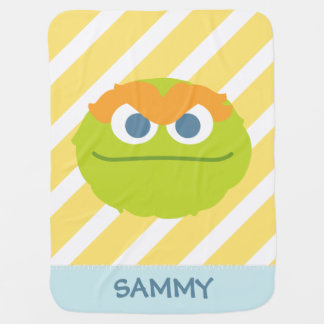 Baby Oscar the Grouch Big Face | Add Your Name Baby Blanket