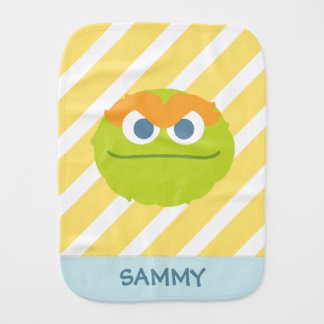 Baby Oscar the Grouch Big Face | Add Your Name Burp Cloth