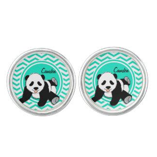 Baby Panda; Aqua Green Chevron Cuff Links