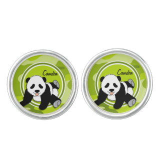 Baby Panda; bright green camo, camouflage Cuff Links