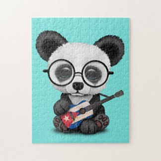 Baby Panda Playing Cuban Flag Guitar Jigsaw Puzzle