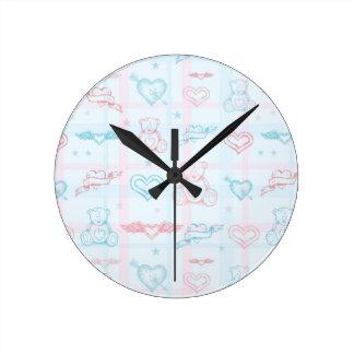 baby pattern with teddy bear clock