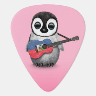 Baby Penguin Playing Haitian Flag Guitar Pink Guitar Pick