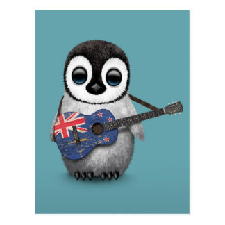 Baby Penguin Playing New Zealand Flag Guitar Blue Postcard