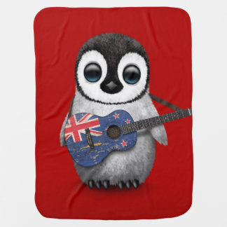 Baby Penguin Playing New Zealand Flag Guitar Red Baby Blanket