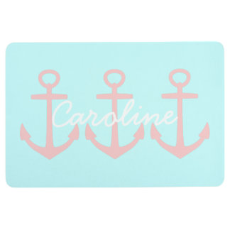 Baby Pink Anchors on Pastel Raindrops Personalized Floor Mat